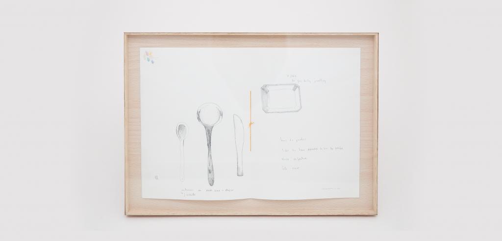 Bocetos enmarcado del proceso creativo de la exposición Cara de Nance en Do Design por Saveria Casaus